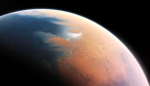 artist's impression shows how Mars may have looked about four billion years ago