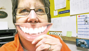 fake smile office lady