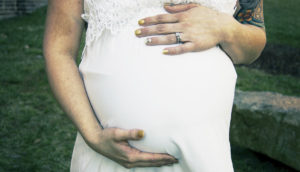 cropped photo of pregnant woman