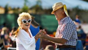 happy older couple dancing