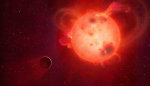 planet Kepler-438b near its violent parent star