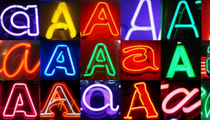 letter A examples in neon