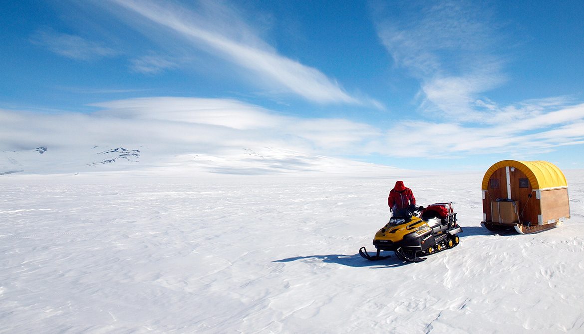 snowmobile in Antarctica