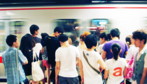 crowded subway in China