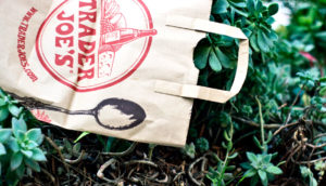 trader joe's bag and plants
