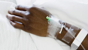 IV in a patient's arm