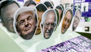 US presidential candidate faces-on-a-stick