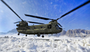 helicopter in the snow