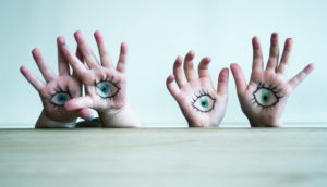 eyes drawn on hands