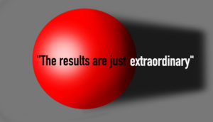 red ball and text