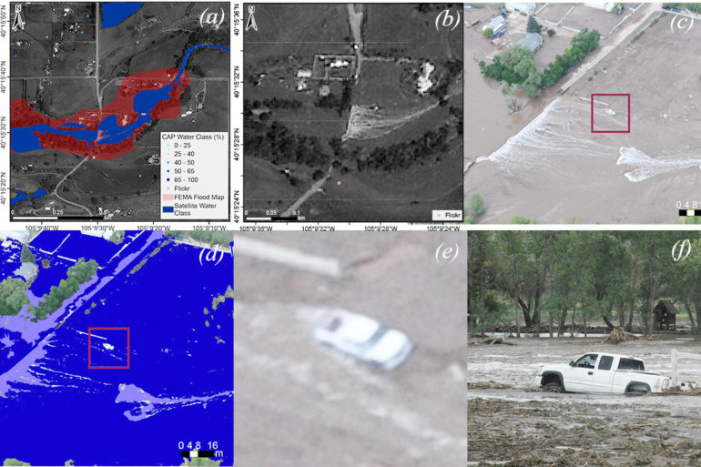 comparison of flooding images on social media and from satellites