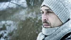 man outside in winter