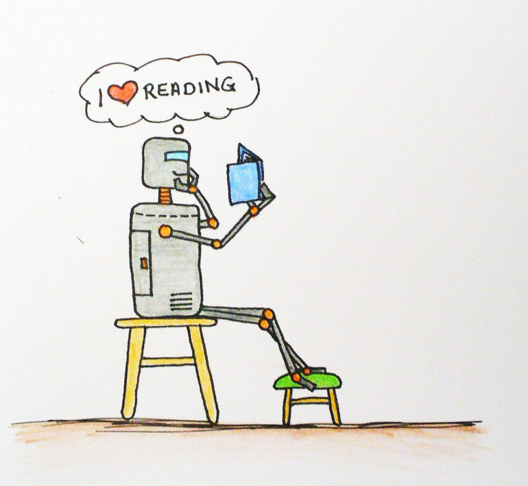 illustration of a robot reading a book
