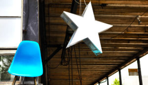 star and blue chair