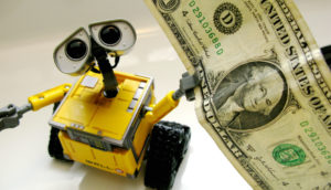 WallE holds a dollar
