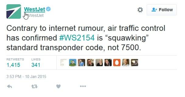 WestJet tweet