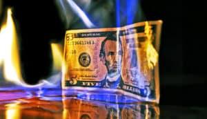 burning $5
