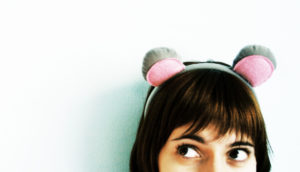 woman with mouse headband