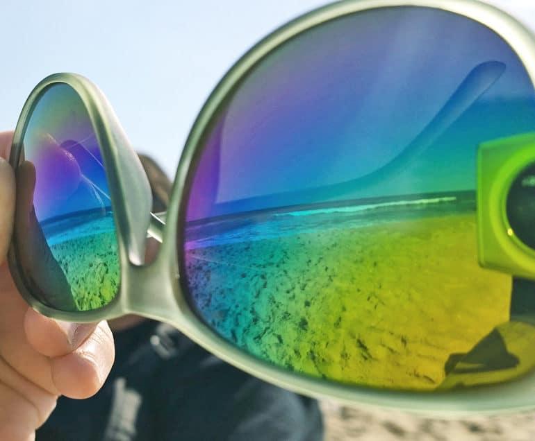 ocean through sunglasses