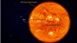 comparison of our sun now and later as a red giant