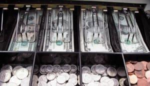 money in a cash register