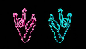 neon figures fall on black