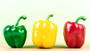 bell peppers in stoplight colors