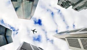 airplane among buildings