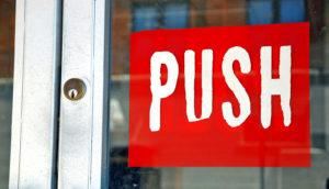 push sign on door