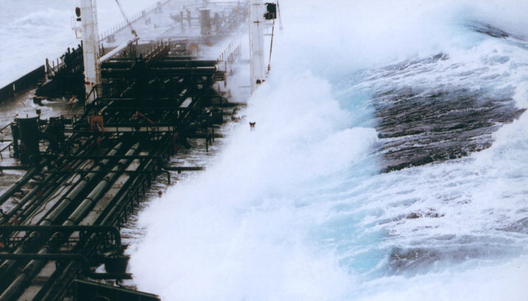 rogue wave hits tanker