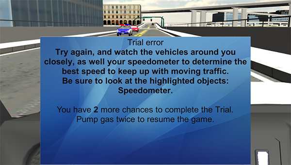 error message in driving simulation