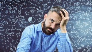 man contemplates math