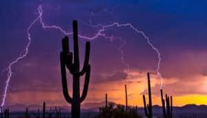 lightning during arizona monsoon