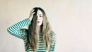 woman in striped shirt