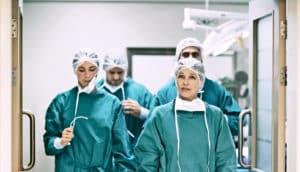 medical team leaves surgery