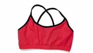 red athletic bra on white