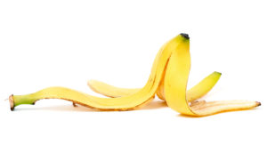 banana peel on white