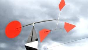 Calder sculpture and storm clouds