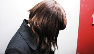 profile of woman's hair