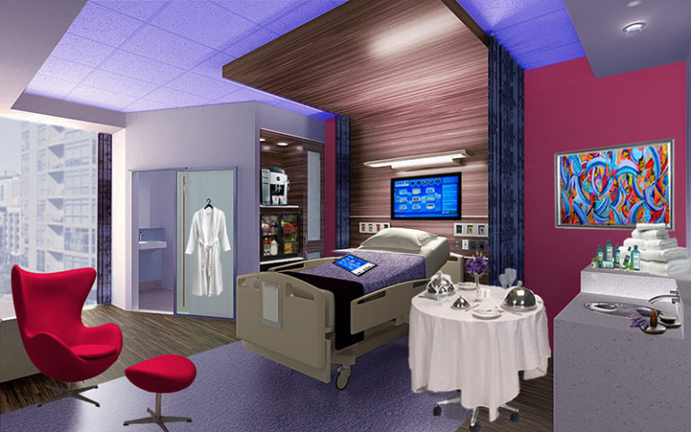 hospital room with luxuries