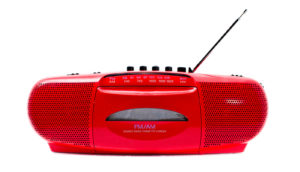 red radio on white