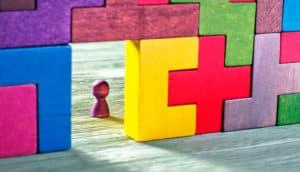 baby figurine in tetris door