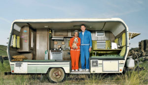 happy couple in camper