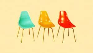 three retro chairs