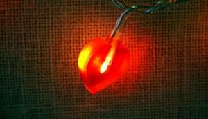 heart light on string