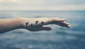 bird tattoo on woman's hand