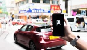 uber app on a phone