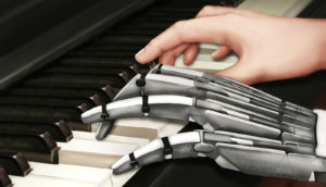 illustration of a neuroprosthetic device playing the piano