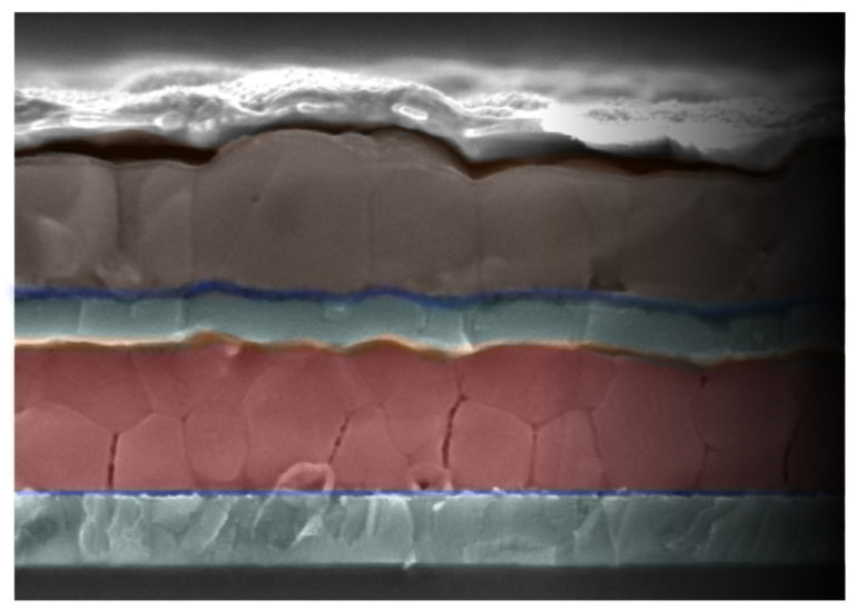 SEM image of perovskite solar cell