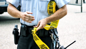 police officer with tape